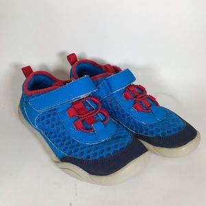 Lands End Velcro sneakers blue red youth 13